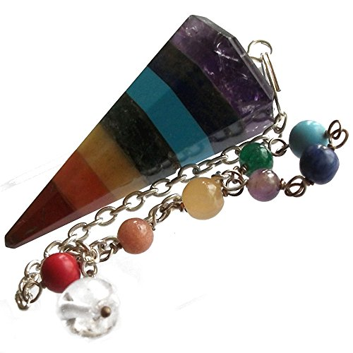 Pendule pour radiesthésie avec cristaux des 7 chakras pour guérison et voyance