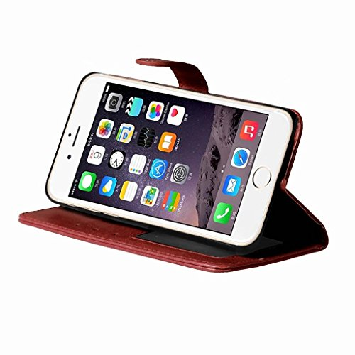 LEMORRY Apple iPhone 7 Plus Custodia Sbalzato Pelle Cuoio Flip Portafoglio Borsa Sottile Fit Bumper Protettivo Magnetico Chiusura Standing Card Slot Morbido Silicone TPU Case Cover Custodia per Apple  Marrone