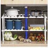 Estantería ajustable multiusos para colocar bajo el fregadero, ideal para cocinas y baños, color blanco