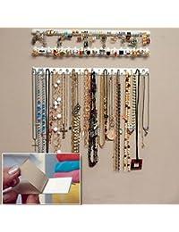 BONYTAIN - Organizador de pendientes autoadhesivo para colgar colgantes, joyería, joyero, ganchos adhesivos de pared
