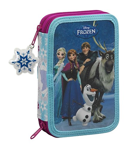 Frozen Friends Forever Plumier Doble Pequeño, 34 Piezas, Color Azul