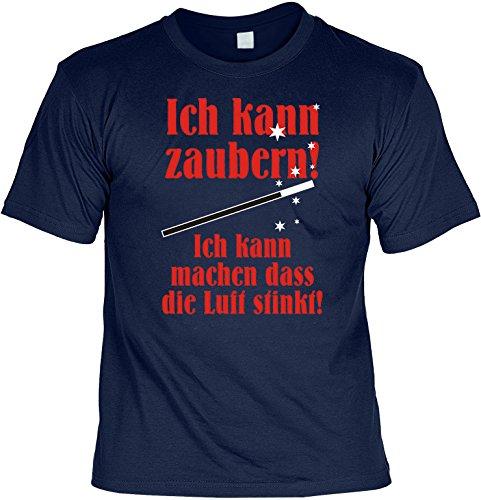 Witziges Spaß-Shirt + gratis Fun-Urkunde: Ich kann zaubern... Navyblau