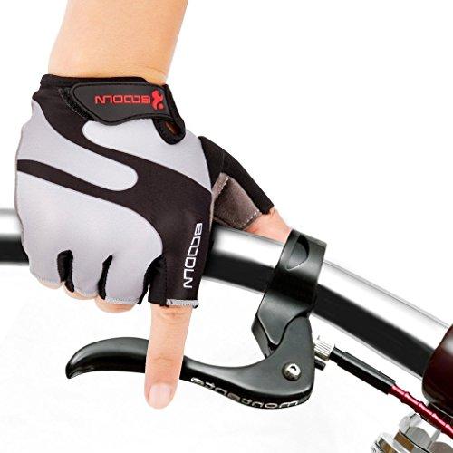 iCreat Damen / Herren Kurze Rennrad Handschuhe Power Fahrrad Active Gloves mit Geleinlage Grau, Größe M - 2