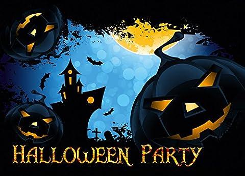 12er Set Halloween Einladungen // Gruselige Kürbis Einladungskarten für eure Halloweenparty // Auch für Kindergeburtstage von Jungen und (Personalisierte Einladungen)