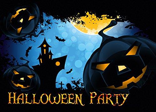 12er Set Halloween Einladungen // Gruselige Kürbis Einladungskarten für eure Halloweenparty // Auch für Kindergeburtstage von Jungen und Mädchen (Jumpsuit Kostüm Box)