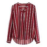 VJGOAL Damen Bluse, Gute Qualität Damen Old Style V-Ausschnitt Polka Striped Print Full Sleeve Top beiläufige herbstliche Bluse T-Shirt (Wein Rot,34)