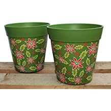 Poinsettia pattern, Christmas decoration, green plant pots, set of 2