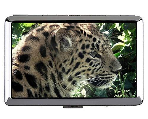 Zigarettenetui Halter, Leopard Wild Leopard Visitenkartenetui Edelstahl (Silber)