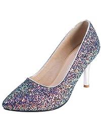 Coolulu Mujer Zapatos de Tacón Alto y Fino Puntiagudo con Brillantes Punta  Cerrada Fiesta y Boda 4f5a855e4f46