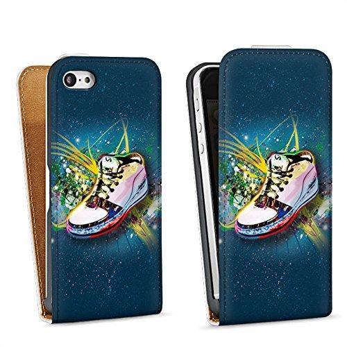 Apple iPhone 5s Housse Étui Protection Coque Chaussures Chaussures Baskets Sac Downflip blanc
