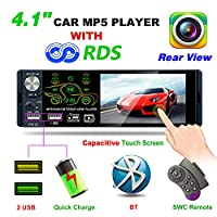 Bosszi 2019 Newly Designed 4.1 Inch Bluetooth Car Stereo with 1080P Touch Screen, FM/AM/RDS Car radio MP5/MP3 Car Player Supports USB/TF/AUX Playback, Steering Wheel Control and Remote Control