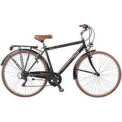 COPPI RMU28206C Bicicleta Retro Steel Hombre, Negro y Marrón
