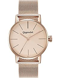 Gigandet Damen-Armbanduhr Minimalism Quarz Uhr Analog Milanaise Edelstahlarmband Rotgold G43-022