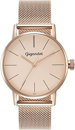 Gigandet Women's Quartz Wrist Watch Minimalism Analogue Stainless Steel Mesh Bracelet Rose Gold G43-022
