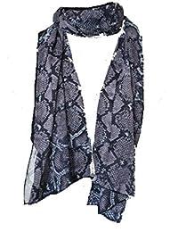 Noir   lilas imprimé serpent peau style mousseline mince jolie écharpe. --  Black   lilac snake skin print thin chiffon… 3d6de01b62c
