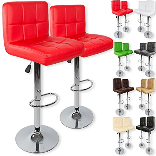 Kesser 2er Set Barhocker Barstuhl Tresenhocker Küchenhocker Loungesessel Esszimmerstuhl  Höhenverstellbar  360° drehbar  Chromfuß | Gepolsterte Sitzfläche | Farbe: Rot