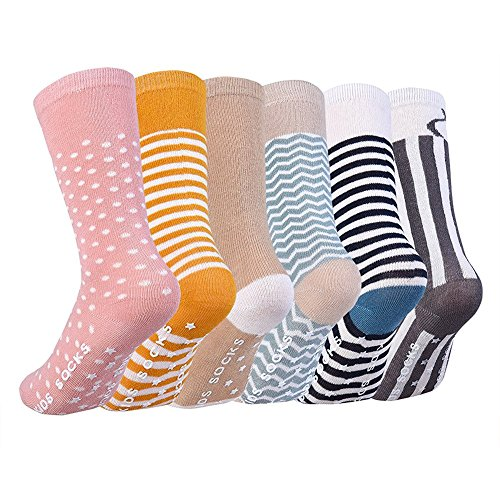 Vbiger 6 Paar Kleinkind Jungen &Mädchen Baumwolle Socken Dicken Winter Socken Kniehohe Socken Rutschfeste Strümpfe im Alter von 0-4 Jahren,Weihnachtsgeschenk (Pack Paar Crew-4)