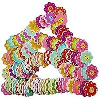 Gazechimp 100 Piezas de Botones de Madera con 2 Agujeros Forma de Flor con 8 Pétalo Accesorios de Hogar Tejer Costura Decoracion Artesanía Manualidades