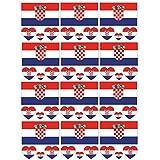 SpringPear 12x Temporär Tattoo von Flagge Kroatien für Internationale Wettbewerbe Olympischen Spiele Weltmeisterschaft Wasserfeste Fahnen Tätowierung Flaggenaufkleber WM Fan Set (12 Pcs)