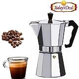 Premium Stovetop Moka Pot - Coffee / Tea Percolator ( Coffee/Tea Filter + Decoction maker )-Aluminium Espresso Maker - For Bold, Full Body Espresso - Easy to Use - Makes 3 Cups