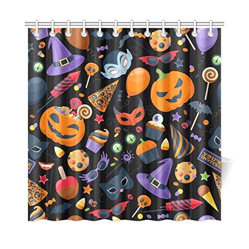 JOCHUAN Wohnkultur Bad Vorhang Halloween Party Bunte Polyester Wasserdicht Duschvorhang Für Badezimmer, 72X72 Zoll Duschvorhang Haken Enthalten