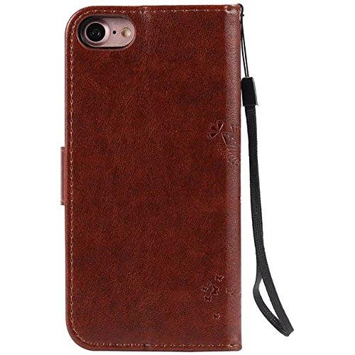 iPhone Case Cover Geprägte Blumen Katze und Baum-Kasten, Normallack PU-lederner Fall-Silikon-Abdeckungs-Mappen-Standplatz mit Handbügel für iPhone 7 ( Color : Black , Size : IPhone 7 ) Brown