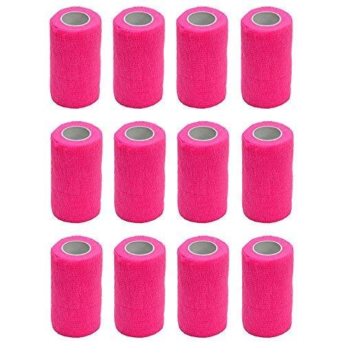 Haftbandage–12Rollen x 10cm x 4,5m, Erste Hilfe, Sport, Bandagen, COBOX Tierarztverband selbstklebende Bandagen, rose