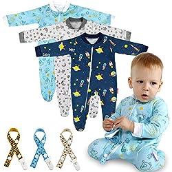 Lictin 6 Piezas Pijama para Bebé- Mameluco de Algodón con Cremallera con Puntos de Pegamento Antideslizantes para Pies,Pintura de Estrella (6-10 Meses)