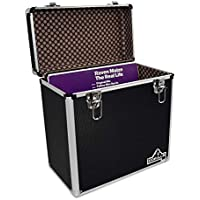 "Gorilla LP50 12"" Vinyl Record Storage Box Case (Black) with FREE Cleaning Cloth"