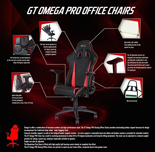 Affordable GT OMEGA PRO RACING OFFICE CHAIR BLACK NEXT YELLOW LEATHER Reviews