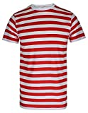 MEN'S BOYS WHERE RED & WHITE WALLY STRIPE T-SHIRT BLUE BLACK STRIPE TOP & TEES#(Red & White Short Sleeve T-Shirt# 5-6 Years#Kids)