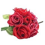 1 x 9 Blumen-Köpfe Künstlich Blumen FORH Elegant Künstliche Rose Seiden Blumen Home Garden kunst Deko Blumen Bunte Decor Plastikblumen Deko Pflanzen für DIY Hochzeit Party (Rot)