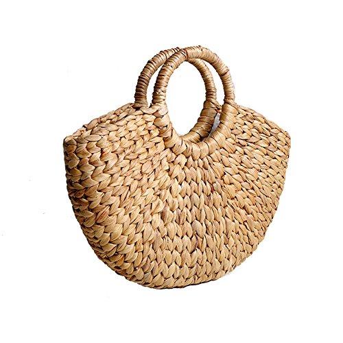 Yunhigh Seagrass bolso trenzado con asa de anillo natural chic tejido a mano redondo de verano bolsa de playa bolso de las mujeres vintage cesta