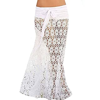 AiSi Womens Lace Crochet Beach Maxi Skirt Sexy Halter Dress Hollow Out Swimwear, White
