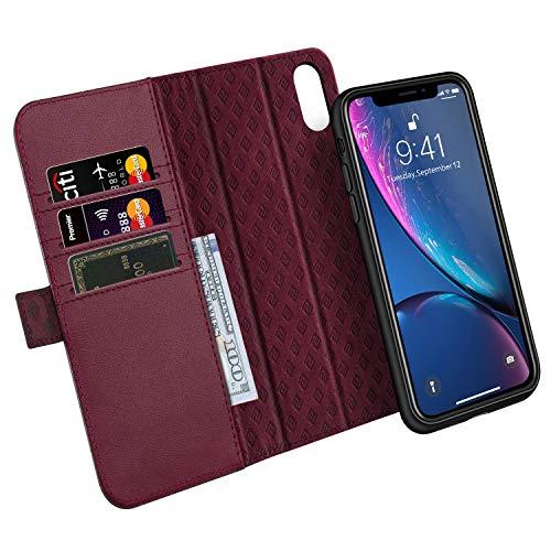 iPhone XR Hülle Leder Abnehmbare Tasche Echt Geldbörse Lederhülle mit [RFID Blocker] Kartenfächer Magnetverschlüsse Flip Folio Book Case 6.1