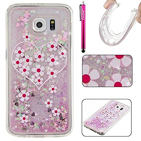 Galaxy S6 Case, Firefish Glitter Liquid Cover Slim Soft TPU Rubber Silicone Case Impact Resistant Durable Protective Case for Samsung Galaxy S6 -Daizy