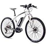 CHRISSON 27,5 pollici E-Bike pedelec e di mountain bike e Mounter 3.0 con 10 G Deore XT Bosch PLine CX Power pack500 e Rock Shox Bianco Grigio Opaco, 44 cm