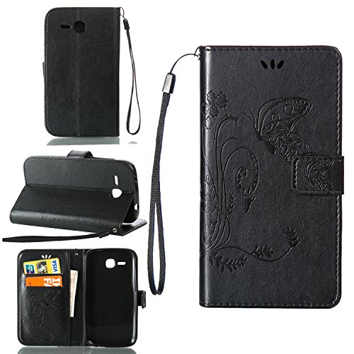 Guran® PU Ledertasche Case für Huawei Y600 (5 Zoll) Smartphone Flip Cover Wallet und Stent-Funktions Hülle Geprägtes Schmetterling Muster Etui - Schwarz