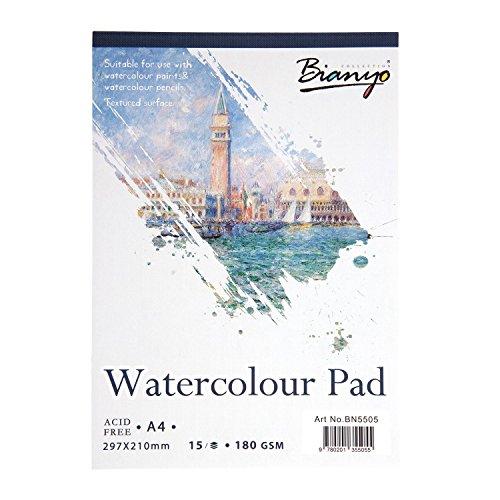 Aquarellpapier A4 für Aquarellfarben Aquarellblock Watercolour Pad 15 Blatt - Bianyo®