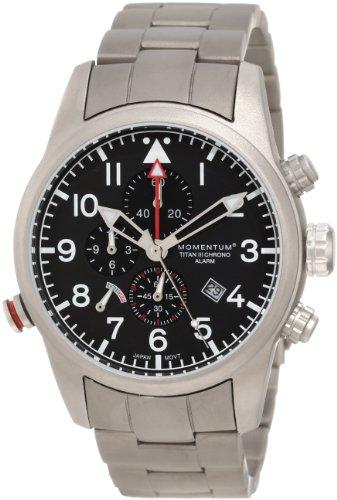 Momentum Titan III Men's Quartz Watch with Black Dial Analogue Display and Grey Titanium Bracelet 1M-SP32B0