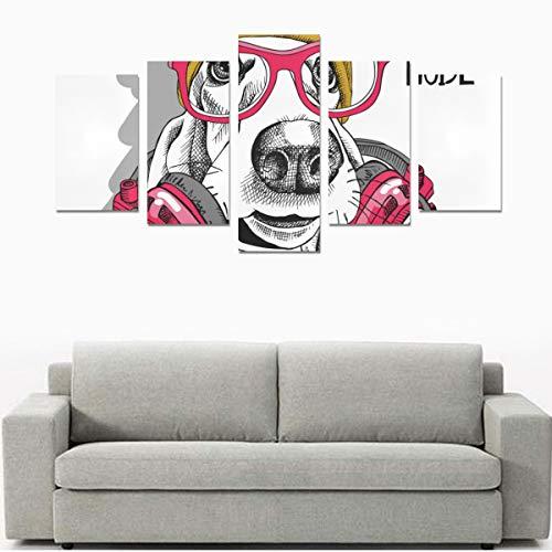 Happy Animal Dog Genießen Sie Musik Karton (kein Rahmen) Leinwanddruck Sets Wandkunst Bild 5 Stücke Gemälde Poster Drucke Foto Bild Auf Leinwand Fertig Zum Aufhängen Für Wohnzimmer Schlafzimmer Home