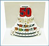 Pop Up 3D Karte Geburtstagskarte 50 Geburtstag Gutschein Torte 16x11cm