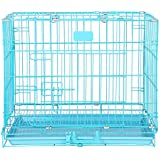 Naaz Single Door Folding Metal Dog Cage/Crate/Kennel 18'' Blue with Removable Tray Rabbit Cages