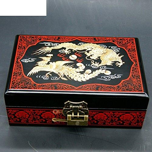 Doppio drago d'oro gioielli scatola di legno/ dress deposito box-A