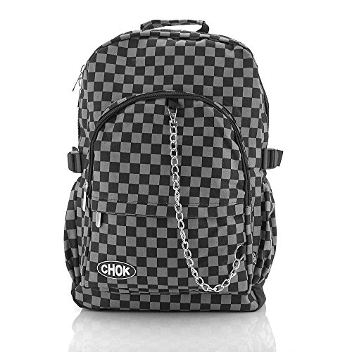 CHECKER BLACK & GREY BACKPACK RUCKSACK SKATEBOARD BAG with LAPTOP PROTECTION | School College Travel Work | Check Goth Rock Emo Skate | CHOK
