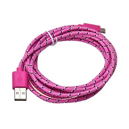 Bluestercool Câble Micro USB, 3M Nylon Tressé USB Câble de Chargeur pour Samsung, Sony, Moto, HTC, Nokia, Smartphone et Plus Encore (F, 3M)