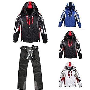 kisshes Herren Skianzüge Set Wasserdicht Winddicht Schneeanzug Snowboardanzug Skijacke Skihose Zweiteilig Ski Jacke Anzug mit Kapuze und Viele Fraben