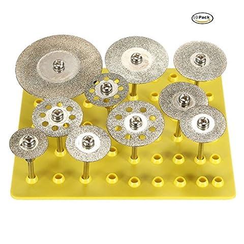 10pcs Diamant Disques à tronçonner Cut Off Wheel Lames Outil rotatif Ensemble pour Dremel perceuses rotatif Lame de coupe