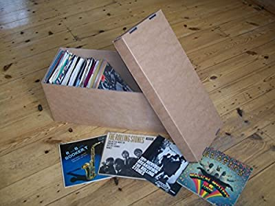 """7"""" VINYL RECORD STORAGE BOX x1 BROWN HOLDS 2OO SINGLES!SUPER STRONG"""
