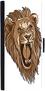 Snoogg Vector Lion Graphic Snap On Hard Back Leather + Pc Flip Cover Samsung ...